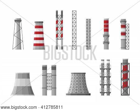 Factory Building. Manufacturing Pipe Pollution Industrial Factory Large Construction. Toxic Factorie