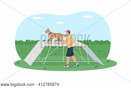 Dog Training On Obstacle Course 2d Vector Web Banner, Poster