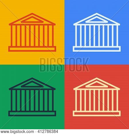 Pop Art Line Parthenon From Athens, Acropolis, Greece Icon Isolated On Color Background. Greek Ancie