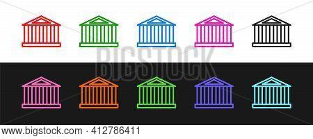 Set Line Parthenon From Athens, Acropolis, Greece Icon Isolated On Black And White Background. Greek