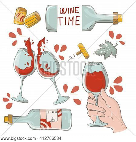 Wine Design Elements Wine Glass, Wine Bottle, Corkscrew, Cork. Wine Set