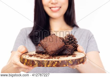 Happy Young Beauty Woman Cooking Delicious Homemade Brownie Pretty Girl Showing Yummy Chocolate Brow