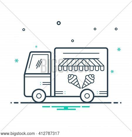 Mix Icon For Icecream Van Vechicle Conveyance Carriage