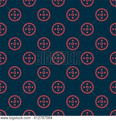 Red Line Bicycle Sprocket Crank Icon Isolated Seamless Pattern On Black Background. Vector