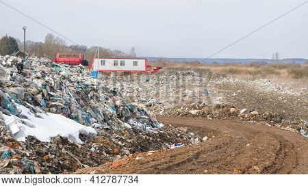 Garbage Dump Landscape Of Ecological Damage Contaminated Land, Plastic Scrap In Landfill, Environmen