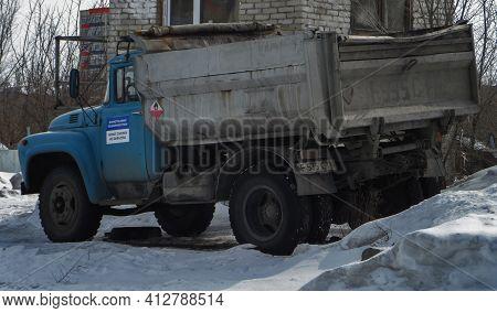 Ust-kamenogorsk, Kz - March 15, 2021. Dump Truck Zil 130. Soviet Truck.
