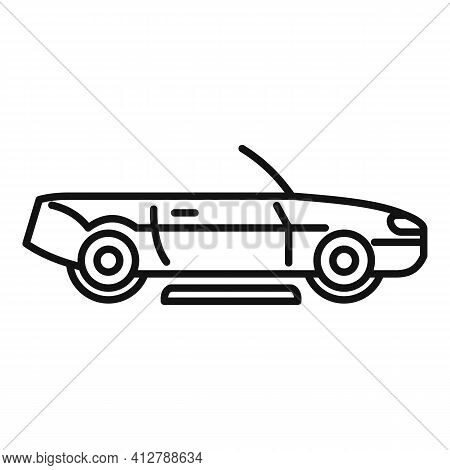 Hybrid Cabriolet Car Icon. Outline Hybrid Cabriolet Car Vector Icon For Web Design Isolated On White