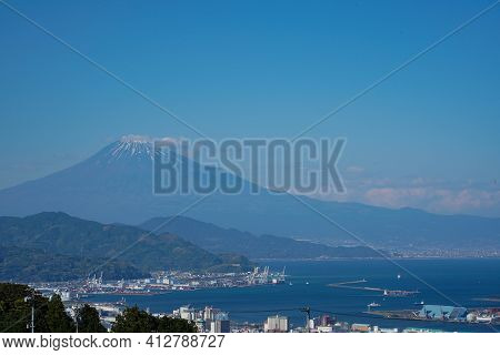 Views Of Mount Fuji On Clear Blue Sky Background At Shimizu Port,japan's Open International Trading