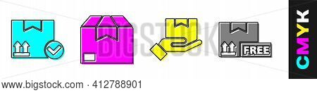 Set Package Box With Check Mark, Carton Cardboard Box, Delivery Hand With Boxes And Cardboard Box Wi