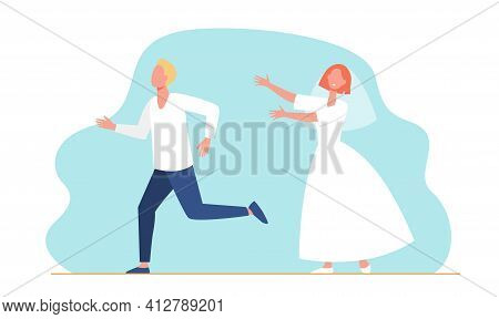 Groom Man Running From Bride Woman In Wedding Dress. Married Couple Flat Vector Illustration. Marria