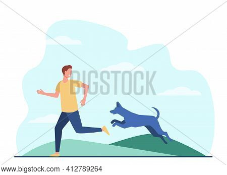 Scared Man Running Away From Dog. Dangerous Animal Chasing Person Flat Vector Illustration. Stray Do