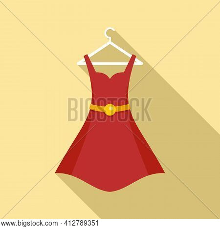 Shop Red Dress Icon. Flat Illustration Of Shop Red Dress Vector Icon For Web Design