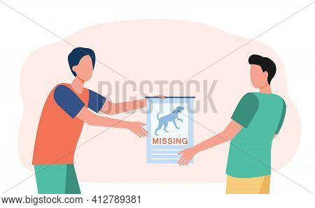 Dog Owner Showing Lost Pet Poster To Man. Person Searching For Missing Animal Flat Vector Illustrati