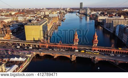 Beautiful Oberbaum Bridge Over River Spree In Berlin From Above - Aerial View - Berlin, Germany - Ma