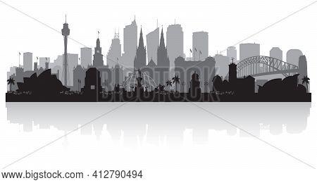 Sydney Australia City Skyline Silhouette