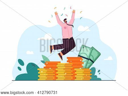 Cheerful Rich Banker Jumping And Celebrating Trade Success Flat Vector Illustration. Cartoon Happy B