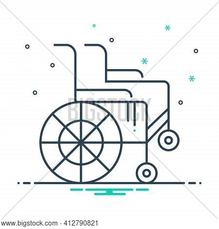 Mix Icon For Wheel-chair Handicapped Physical-impairment Disability