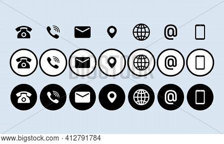Contact Us Icon Set. Communication Symbol For Your Web Site Design, Logo, App, Ui. Contact Us Button