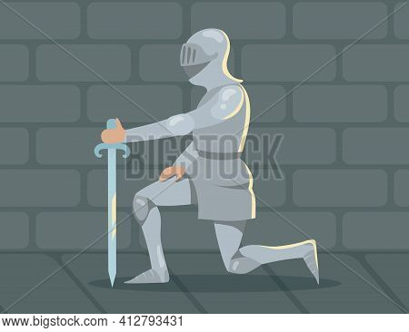 Knight Standing On One Knee Owing Allegiance. Medieval Solder Man Person In Heavy Steel Armor. Flat
