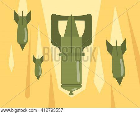 Retro Bombs Falling Down. Explosive Bomb Dropping Air Strike Attack. Flat Vector Illustration. War,