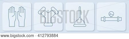 Set Line Rubber Gloves, Rubber Plunger, Industry Metallic Pipe And Industry Pipe And Manometer. Whit