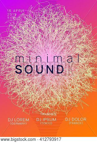 Neon Club Flyer. Electro Dance Music. Trance Party Dj. Electroni