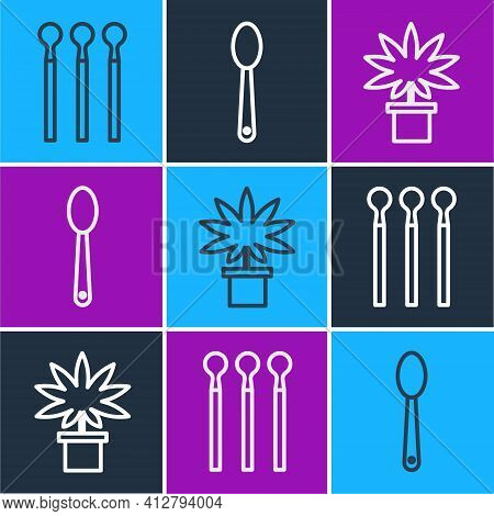 Set Line Matches, Marijuana Or Cannabis Plant In Pot And Heroin In A Spoon Icon. Vector