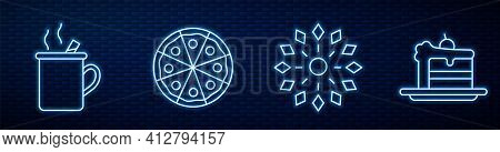 Set Line Firework, Mulled Wine, Pizza And Cake. Glowing Neon Icon On Brick Wall. Vector