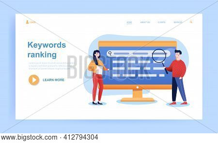 Male And Female Characters Are Working On Keywords Ranking. Concept Of Search Engine Marketing, Sear