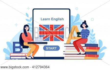 Two Female Characters Are Learning English Online. Two Women Studying A Language Remotely Over The I