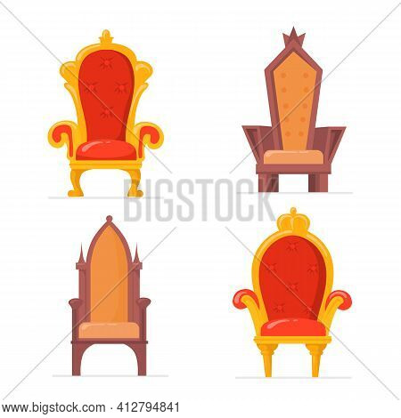 Bright Colorful Royal Armchairs Or Thrones Flat Pictures Collection. Cartoon Medieval Chairs For Que