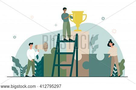 Member Of Business Team Holding Golden Trophy. Male And Female Characters Assembling Puzzle Parts To