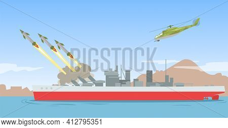 Warship Shooting Missile Rockets. Military Ship Ballistic Missile Launch Strike Attack On Sea. Flat