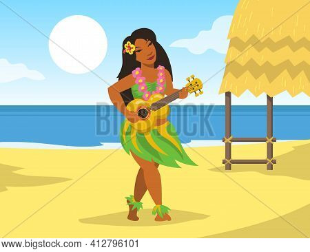 Hawaiian Woman In National Costume Playing Ukulele Guitar On Beach. Hawaii Sea Shore Tropical Nature