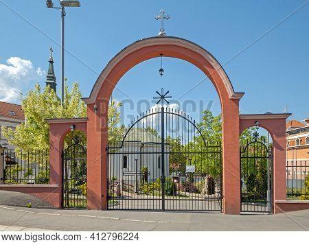 Belgrade, Serbia - April 28, 2020: Closed Gate At Serbian Orthodox Church In Mirijevo.