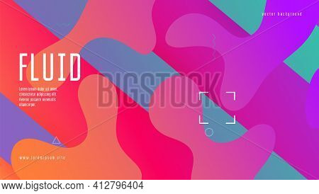 Rainbow Cover. Wave Landing Page. Bright Frame. Fluid Texture. S