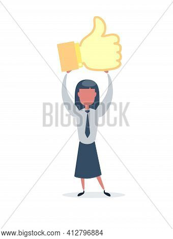 Happy Businesswoman With Prize Thumbs Up Sign. Businesswoman Holds The Prize Over Head. Likes And Po