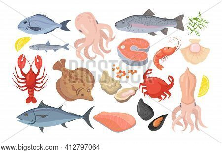 Trendy Seafood Flat Pictures Collection. Cartoon Mussel, Fish, Shrimp, Caviar, Lobster, Crayfish, Cr