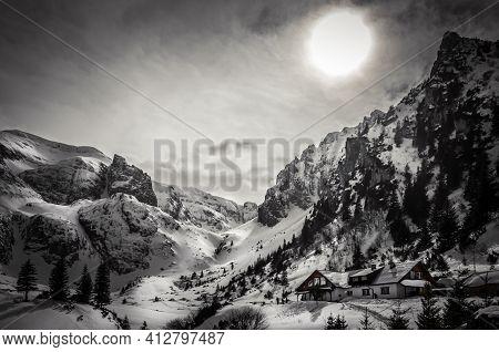 Malaiesti Chalet In Winter. Beautiful View Of Malaesti Valley In Bucegi Mountains, Carpathians Alps,