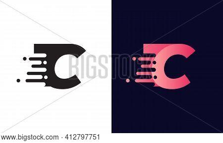 Technology Logo With C Letter. Modern C Letter Speed Logo Design. Creative Unique Elegant Geometric,