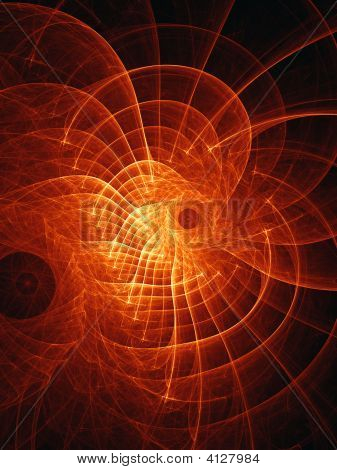 abstract fire web rays on dark background poster