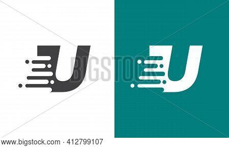 Modern U Letter Speed Logo Design. Creative Unique Elegant Geometric, Minimal Fashion Brand U Letter