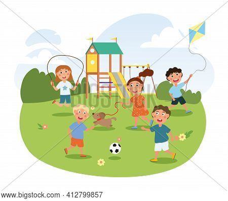 Cute Little Children Are Playing On The Playground In Park. Concept Of Breaktime In Kindergarten. Ou