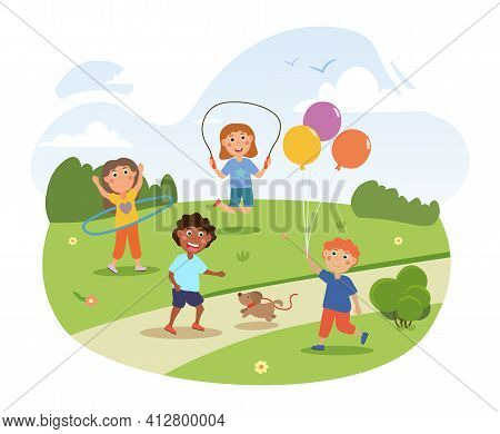 Cute Little Children Are Playing In The Park Together. Happy Kids Are Having Fun With Baloons, Dog,
