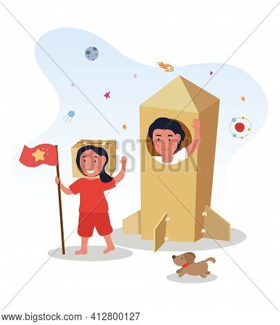 Mother Is Playing With Her Daughter In Cardboard Costumes. Family Is Having Fun Together With Dog. M
