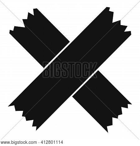 Cross Scotch Tape Icon. Simple Illustration Of Cross Scotch Tape Vector Icon For Web Design Isolated