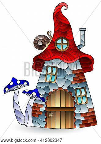 A Stained Glass Illustration With An Abstract Dwarf House, Isolated On A White Background