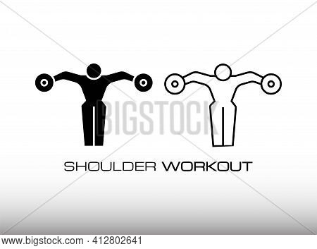 Set Of Dumbbell Lateral Raise Workout In Fitness Center Or Gym Image Icon Vector. This Icon Consist