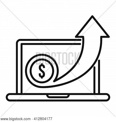 Increase Money Icon. Outline Increase Money Vector Icon For Web Design Isolated On White Background