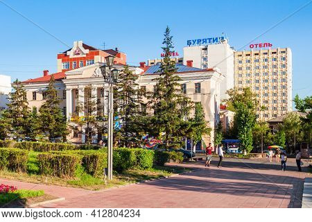Ulan-ude, Russia - July 14, 2016: Ulan-ude City Centre. Ulan-ude Is The Capital City Of The Republic